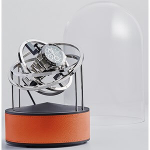 Bernard Favre Planet Silver & Orange leather watch winder